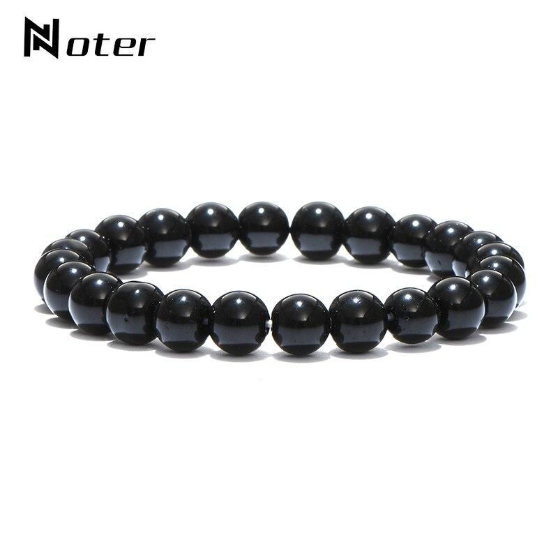 Минималистичный мужской браслет из натурального черного обсидиана, 4 мм, 6 мм, 8 мм, 10 мм, 12 мм, украшенный бусинами, браслет для йоги, ювелирные изделия