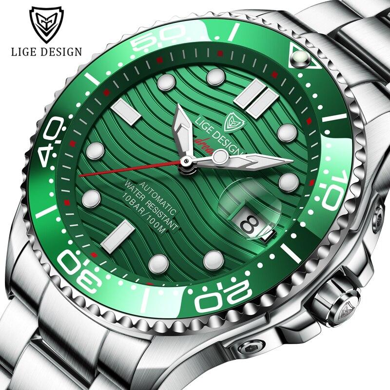 2021 novo esporte dos homens relógios mecânicos lige topo marca de luxo relógio automático homem 100 data à prova dwaterproof água relógio mergulho relógio pulso