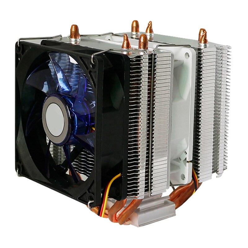 برج المبرد ثلاثة المشجعين 9 سنتيمتر LED الصامت مضيئة مروحة التبريد الكمبيوتر برج مزدوج ثلاثة المشجعين أنبوب الحرارة CPU المبرد