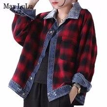 Max LuLu 2020 Koreanische Mode Damen Frühling Vintage Denim Mäntel Womens Casual Zerrissene Reversible Jacken Plaid Kleidung Plus Größe