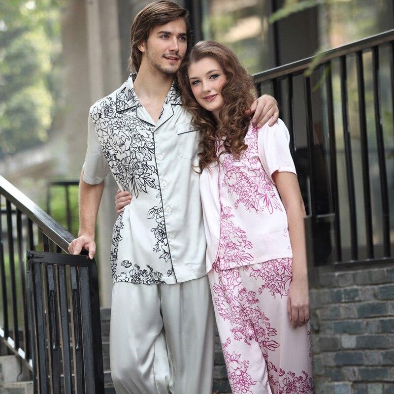 Men's Pyjama Silk Pajamas for Couples Spring and Autumn Symmetrical Printed Couple Pajamas Matching Loungewear