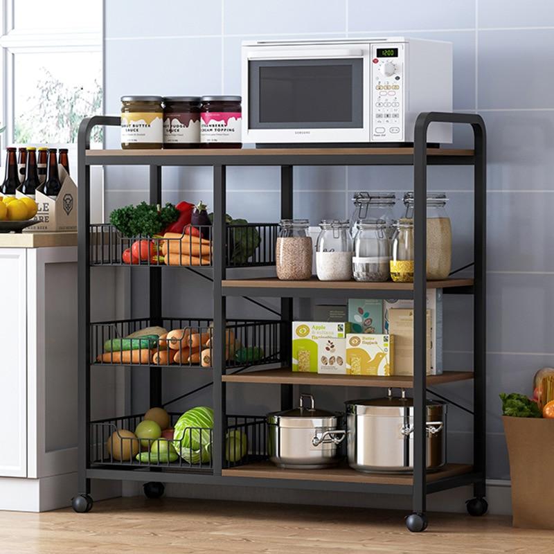رف مطبخ الطابق إلى الطابق فرن الميكروويف عموم الرف لوازم المطبخ المنزلية سلة التخزين منظم خزانة المطبخ