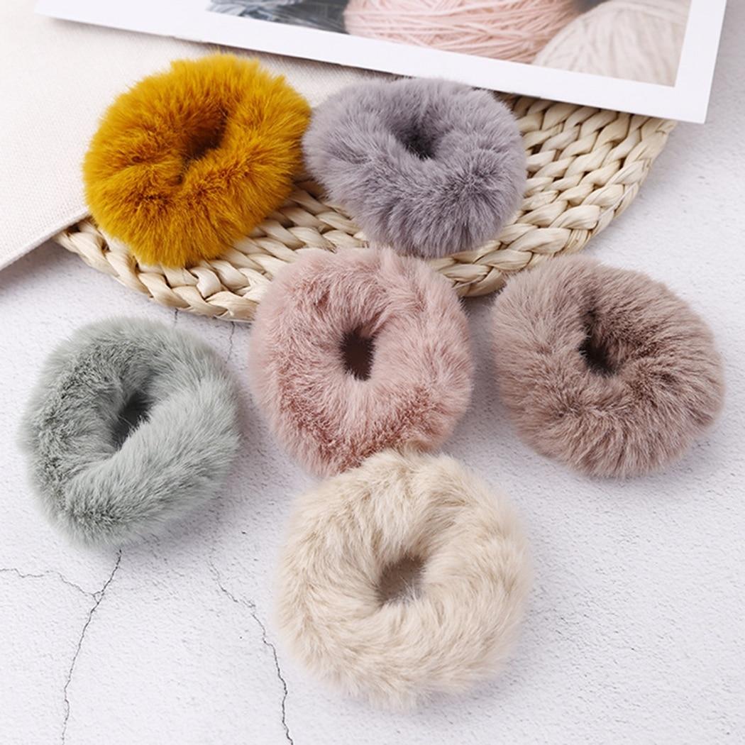 8 uds, banda elástica para el pelo para mujeres, banda para el pelo peluda a la moda, soporte para coleta