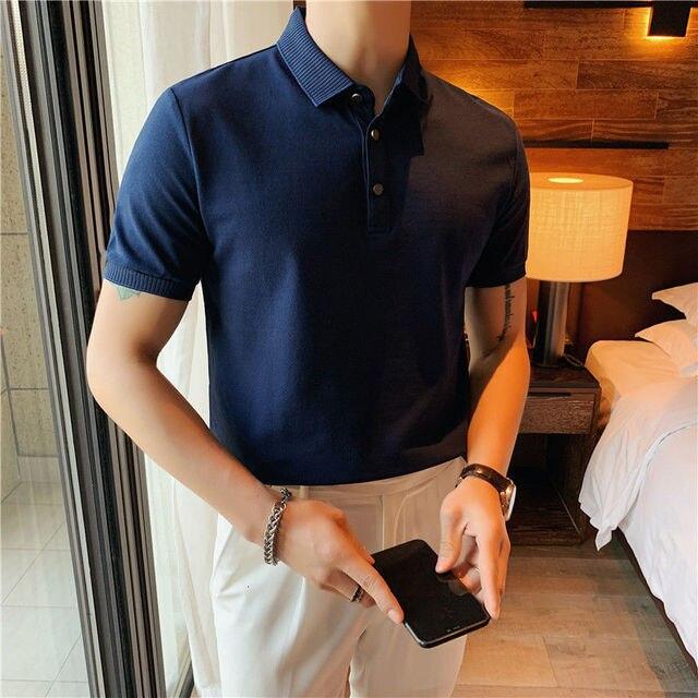 2021 الرجال قميص بولو بكم قصير قميص عادية سليم صالح القطن بلون الصيف الكورية