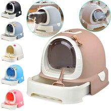 Bac à litière pour chat 6 couleurs   Bac à litière pour chaton, plateau fermé, toilettes intérieur, literie entraînement, poêle détachable, accessoires pour animaux petits moyens