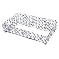 crystal rectangle cosmetic tray jewelry trinket organizer mirror decorative tray perfume skin care organizersilver