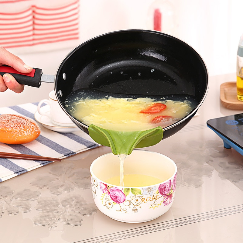 Embudo de sopa de silicona a prueba de fugas Slip Overflow Dip Hopper recipientes tarros Deflector utensilios de cocina Deflector de agua accesorios de cocina