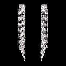 TREAZY 12cm de Long strass cristal boucles doreilles femmes mode gland boucles doreilles bijoux couleur argent bijoux accessoires