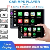 carplay car radio mp5 player with external microphone carplay aux fm stereo bluetooth compatible car audio 7 inch 2 din radio