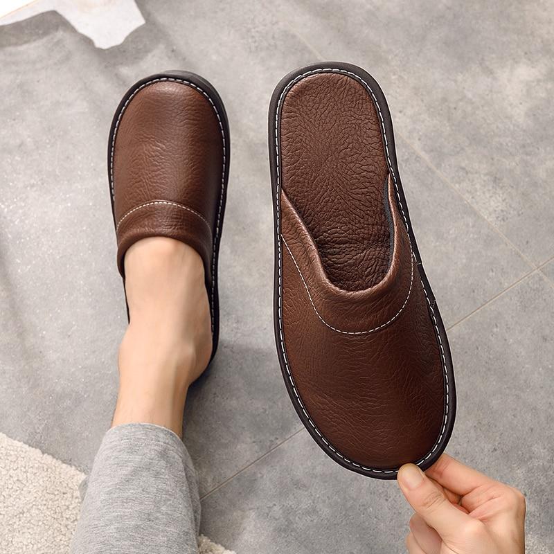 الأزواج الكلاسيكية خف جلدي الرجال غرفة نوم الراحة الأحذية الذكور نعال مسطحة عدم الانزلاق المطاط شبشب رجالي