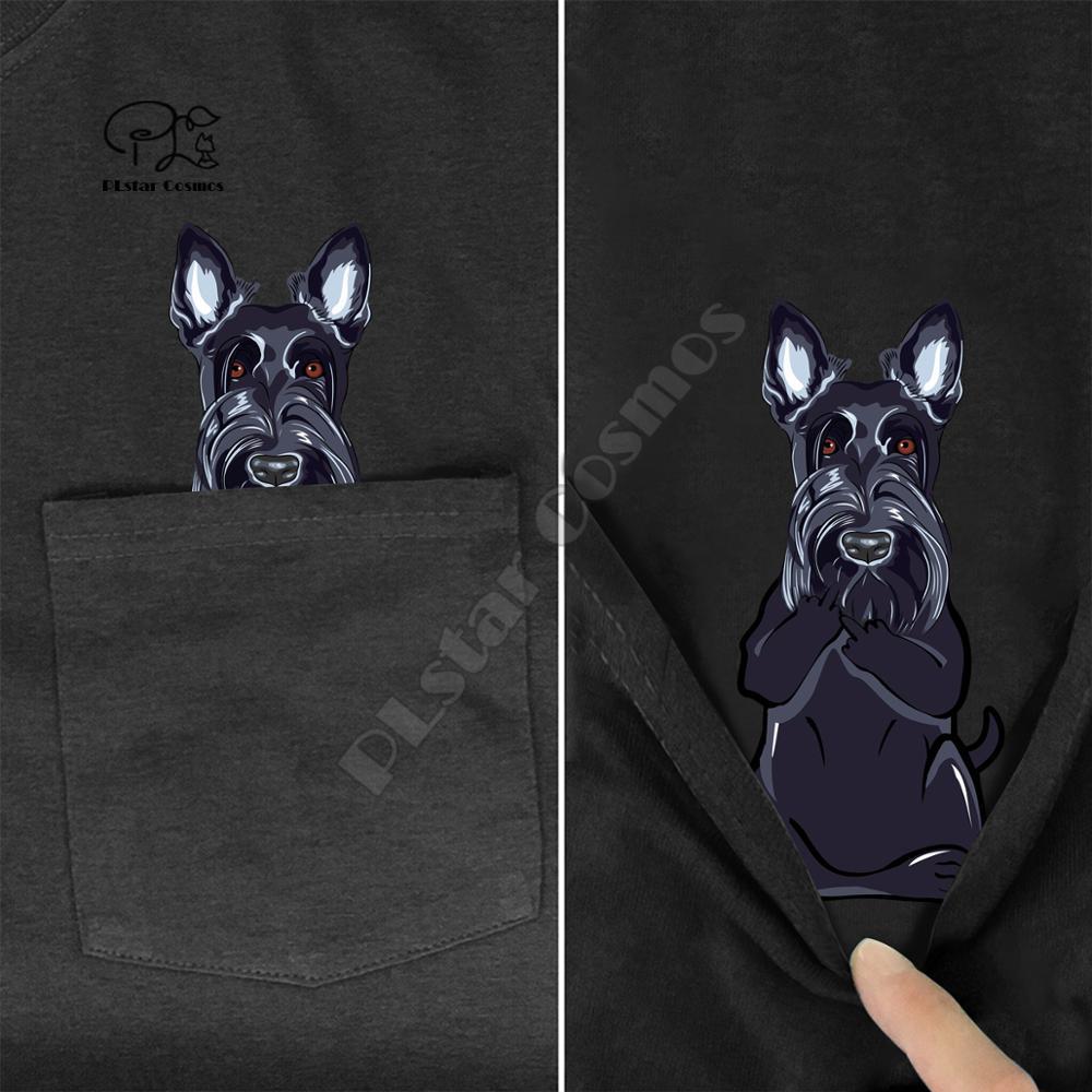 ScottieMiddleHand In Pocket T Shirt Dog Lovers Black Cotton Men Made in USA Cartoon t shirt men Unisex New Fashion tshirt