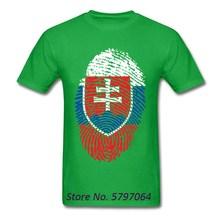 T-Shirt noir slovaquie drapeau empreinte digitale T-Shirt rayé hommes T-Shirt Vintage coton gris hauts vêtements Style chemises