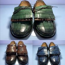 Men's Handmade Solid Color Fashion Trend Fashion Casual All-match Business Classic Tassel Round Toe