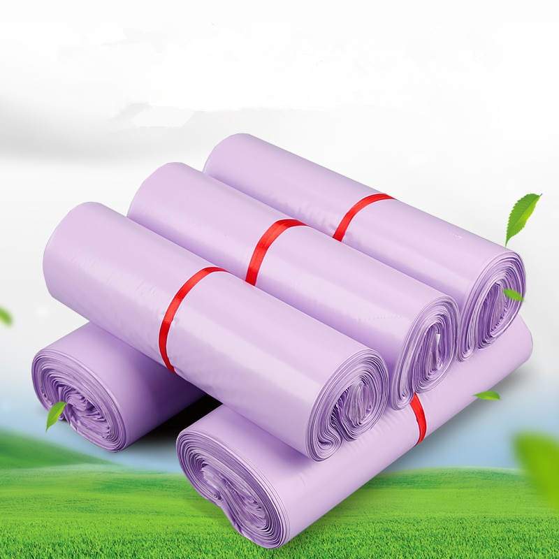 (100 Pieces/Lot) Purple Thickened Express Bag Logistics Delivery Packaging Courier Bag