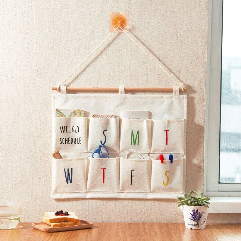 One Week 8 Pockets Wall Hanging Storage Bag Cosmetic Toy Organizer Wardrobe Bathroom Storage Pouch Sundries Organize