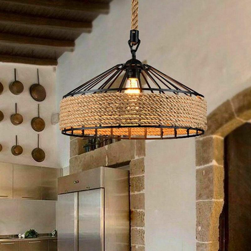 E27 حبل القنب مصباح معلق Vintage قلادة مصباح ضوء السقف ، الرجعية العتيقة الصناعية قابل للتعديل مصباح الثريا الحديد Candlest