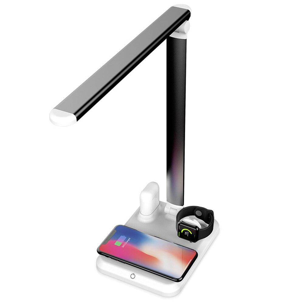 Lámpara de mesa 5W, 4 en 1, cargador inalámbrico multifunción para Iphone iwatch y Airpods, lámpara de mesa de lectura táctil