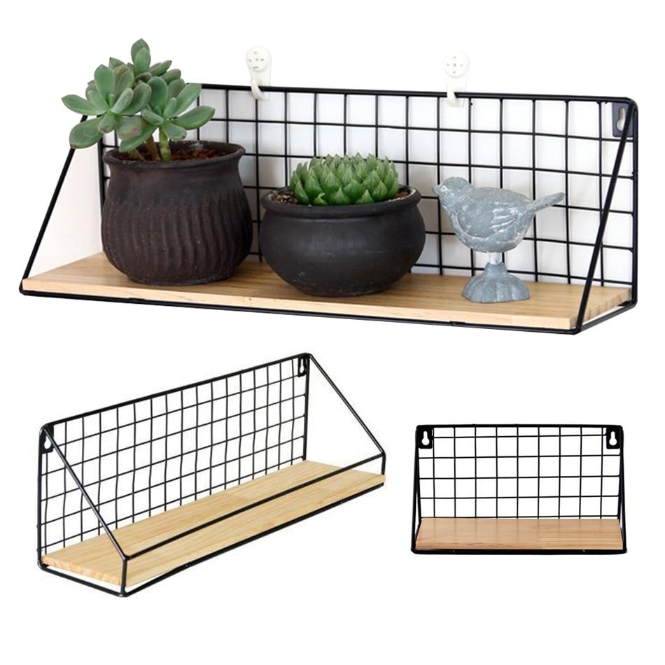 Kitchen Wall Shelf Organizer Holder Wooden & Iron Supplies Hanging Cabinet Storage Organizer For Home Bathroom Household Items