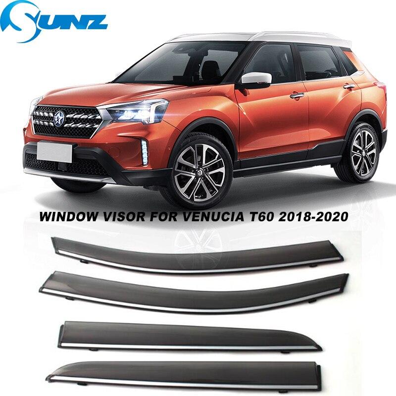 Side Window Visors For Venucia T60 2018 2019 2020 Smoke Hook Weathershields Sun Rain Deflectors Car stylings SUNZ