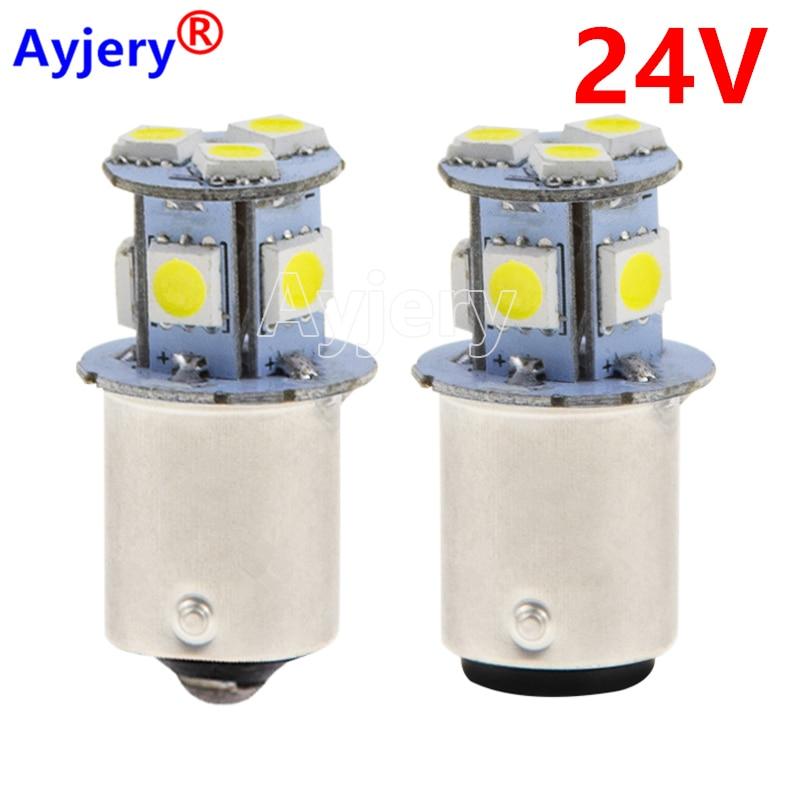 Ayjary 100 Uds camión LED 24V S25 P21W BA15S 1156 8 SMD 5050 LED Bus intermitente luz aparcar automóvil lámpara cuña bombillas blanco 24V