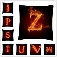 flame cool alphabet pattern linen cushion cover pillow case for home sofa car decor pillowcase 45x45cm