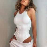 bodysuit women cotton tops cross halter splice summer sleeveless sexy cyber y2k slim off shoulder base bodys overalls for women