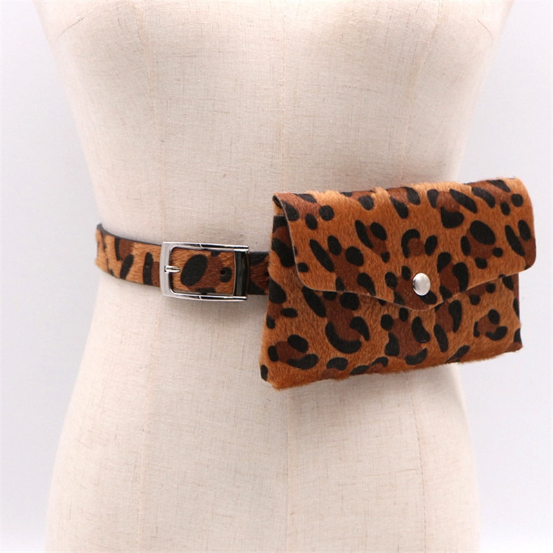 2019 Fashion Women Waist Pack Leopard Waist Bag Mobile Phone Bag Horse Hair Decorative Detachable Belt Coin Purse