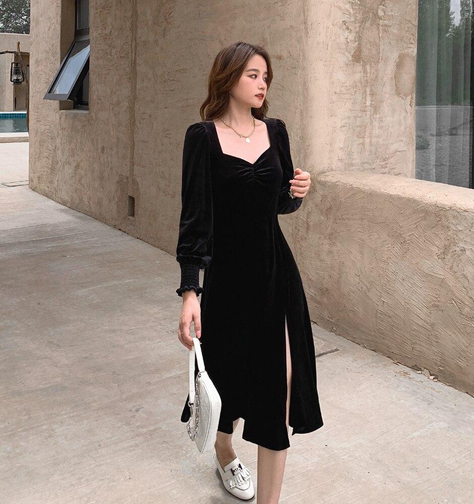 Black 2021 Early Spring New French Style Vintage Velvet Square Collar Dress Tight Waist Split Slimmi
