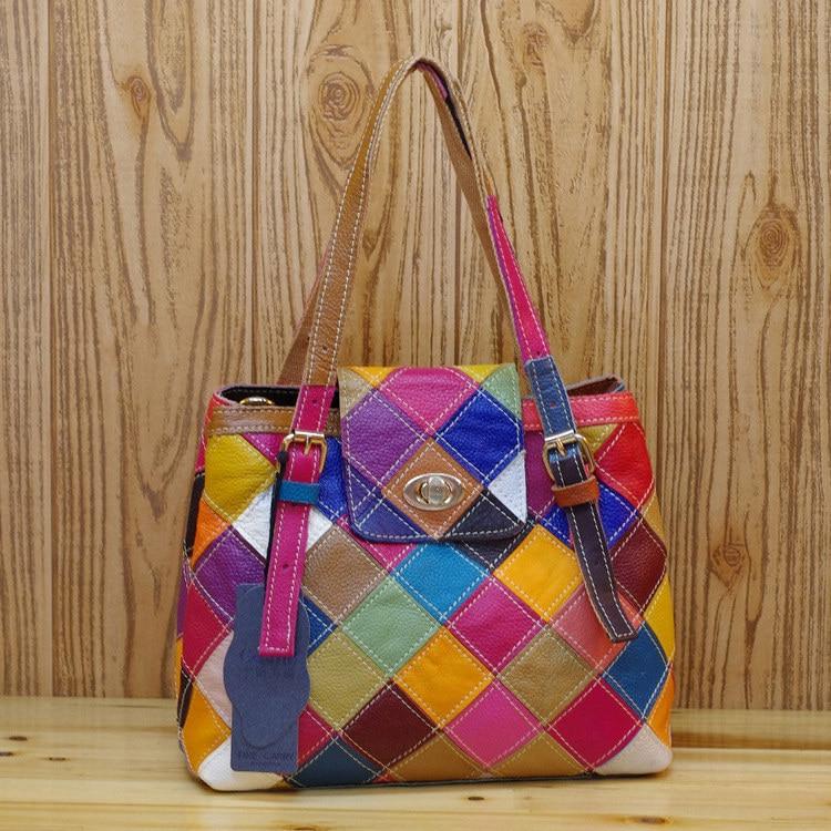 حقيبة يد نسائية من الجلد الطبيعي بأشكال هندسية متنوعة حقيبة كتف ملونة بخياطة عشوائية حقيبة ساعي البريد 330