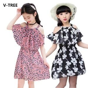2020 одежда для малышей, одежда для девочек Летнее Детское пляжное платье с цветочным рисунком для девочек шифоновые платья для девочек вечерние Boho От 3 до 15 лет, костюм для детей