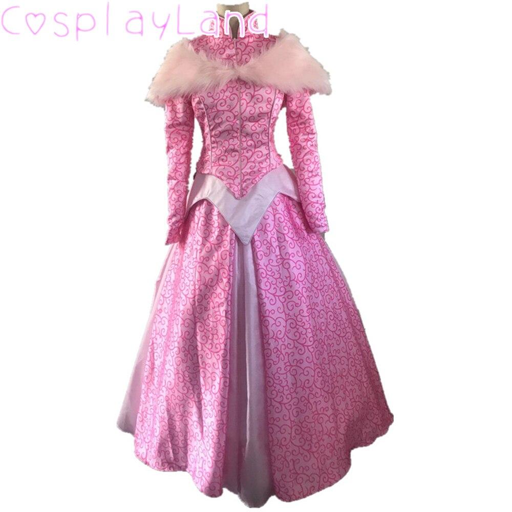 فستان الأميرة تأثيري حلي هالوين ازياء الوردي النساء فستان الشتاء الكرة ثوب مع ثوب نسائي الدانتيل يصل كم طويل