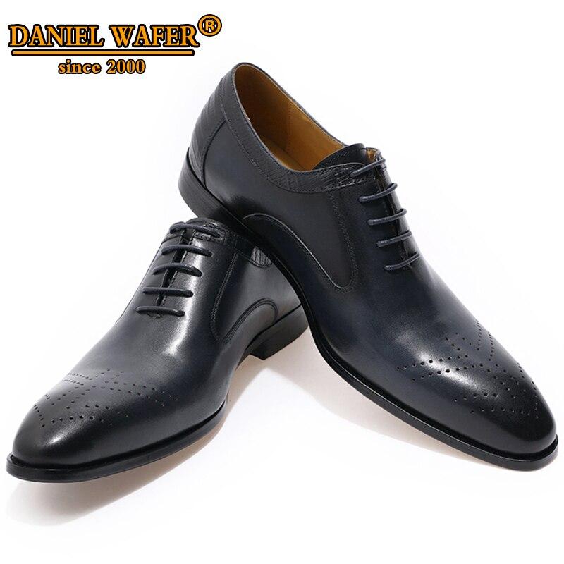 יוקרה מותג נעלי אוקספורד גברים עור אמיתי נעלי תחרה עד משרד עבודת חתונה נעליים רשמיות הבוהן מחודדת נעלי אוקספורד שחור נעל