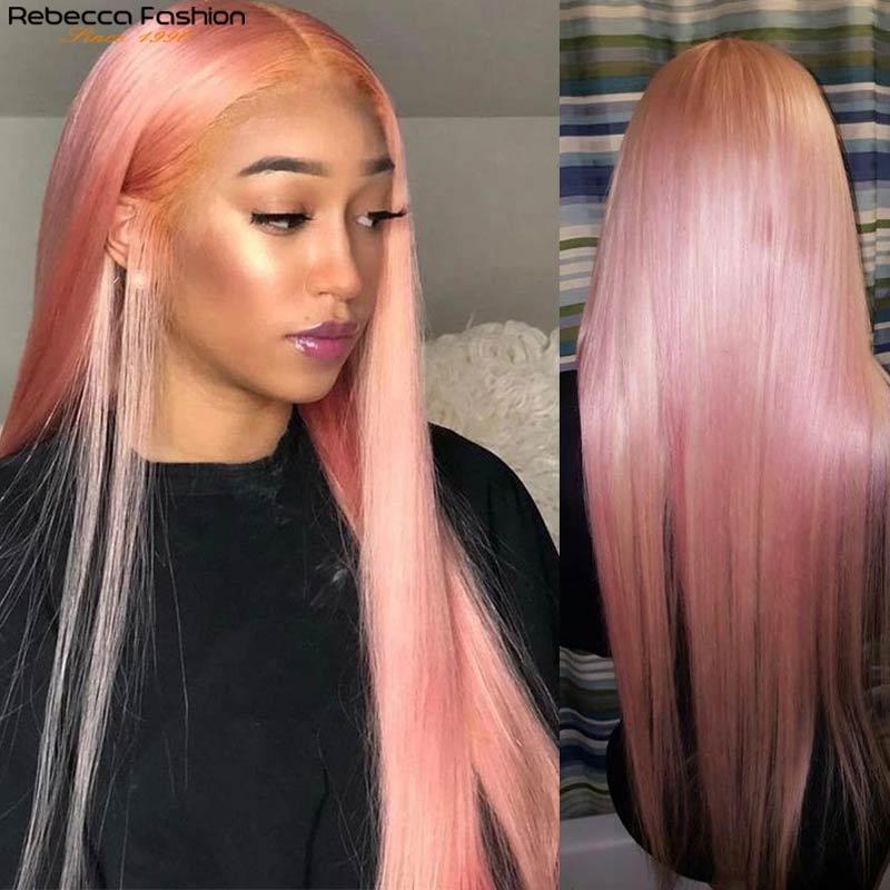 Rebecca Pink Human Hair Wigs Straight Lace Front Wig 4x4 Lace Closure Straight Human Hair Wig For Women Preplucked Blonde Purple