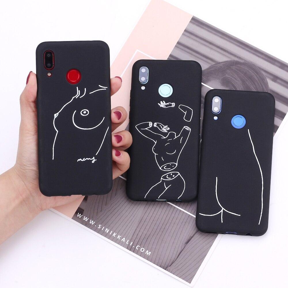 Para Samsung S8 S9 S10 S10e S20 Plus Note 8 9 10 A7 A8 Lover línea de arte Sexy Harajuku estética funda de silicona para teléfono