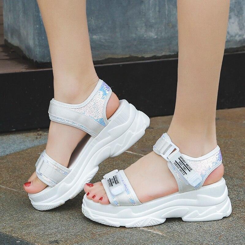 Summer Thick Sole Sandals Women White Wedge Sandals Open-toed Buckel Beach Sandals Cool Summer Ladies Platform Shoes