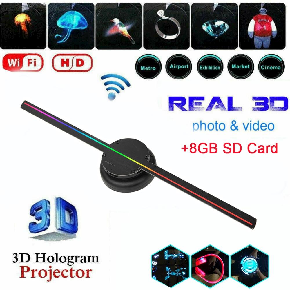 3d вентилятор голограмма проектор настенный Wi-Fi светодиод знак голографический лампа плеер пульт реклама дисплей поддержка изображения и видео