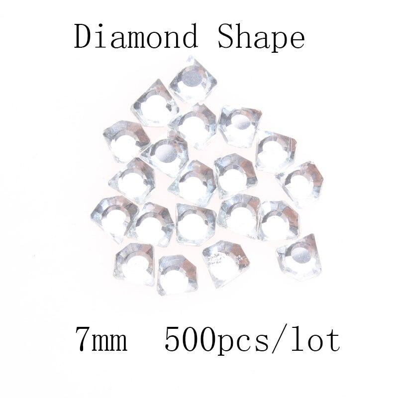 500 Uds 7mm forma de diamante cristal Flatback diamantes de imitación Trim motivo de vestido de novia de apliques de strass Hotfix aplicador DIY