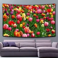 spring flower tree pattern polyester pattern tapestry beach throw mat yoga rug wall hanging home decor