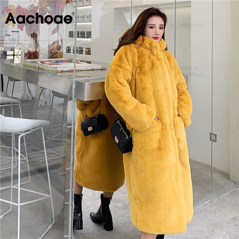 Abrigo de invierno grueso y largo de piel sintética para mujer, abrigo de peluche liso cálido de manga larga con capucha suave, abrigo holgado, chaquetas de prendas de vestir femeninas