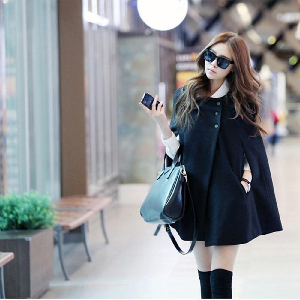 Mujer invierno poncho de manga murciélago de lana de un solo pecho Casual suelta Parka con cuello con capucha de manga larga capa chaqueta para niña