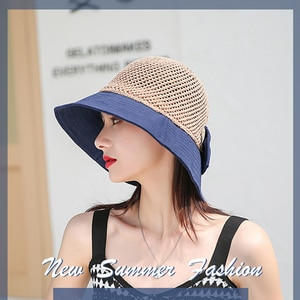 Summer Women's Sun Hat Straw and Cotton Breathable Bucket Hat Lady Female Color Patchwork Outdoor Beach Cap Wiht Bowknot
