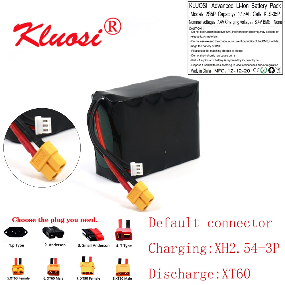 KLUOSI 7.4V 17.5Ah 18Ah 2S5P 8.4V عالية قدرة UAV قابلة للشحن ليثيوم أيون بطارية لمختلف RC طائرة Quadrotor XH2.54-3P XT60
