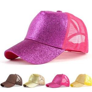 Ponytail Cap Summer Ladies Back Opening Glossy Gold Powder Ponytail Baseball Cap Women's Cap