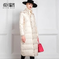 high end thickened white down jacket long over knee loose korean down jacket womens winter fashion