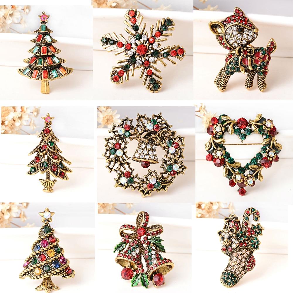 Vintage Weihnachten Brosche Bowknot Hijab Pins Glocke Pins Deer Baum Gold Farbe Broschen Pin Weihnachten Geschenke für Frauen Schmuck Brosh