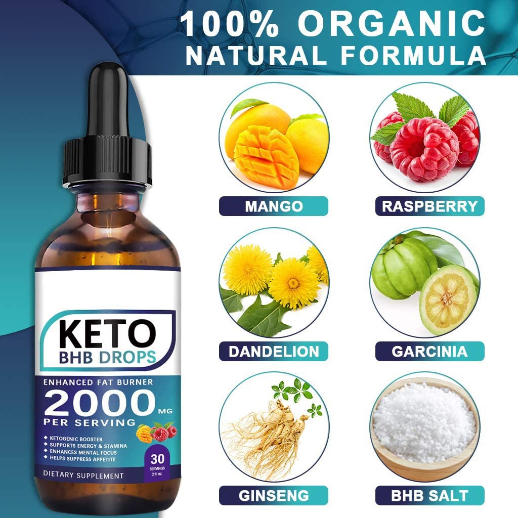 60ML Keto Drops Fat Burner Formula To Boost Metabolism Keto Diet Drops Weight Loss Ketogenic Supplement For Men And Women