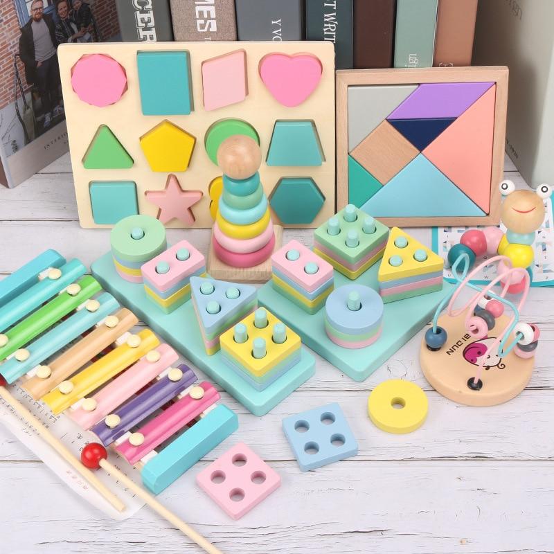 Деревянные 3D Детские развивающие игрушки Монтессори, математическая игра для раннего обучения, детские игрушки на день рождения, Рождество...