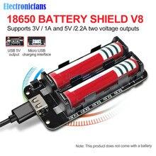 Dual 18650 Lithium Battery Shield V8 3V1A 5V 3A Micro USB Power Bank Battery Charging Module For Raspberry Pi Wifi ESP8266 ESP32