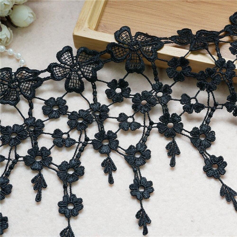 Veneza tassles flor guarnição do laço preto bordado laço do vintage guarnição do laço para colar de renda diy vestido artesanato rendas costura suprimentos