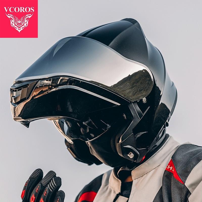 VCOROS-خوذة دراجة نارية معيارية للرجال والنساء ، عدسة مزدوجة ، معتمدة ، PA901 FIip Up